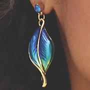 Blue/Green Leaf Earrings