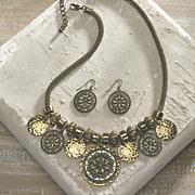 medallions necklace earrings set