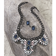 blue and white necklace earring set