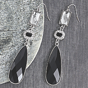 Faceted Black/Clear Drop Earring