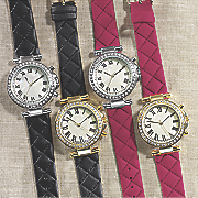 crystal quilt strap watch