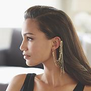 chain crystal cuff earring