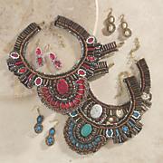southwest beaded necklace earring set