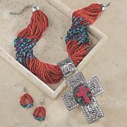 cross bead necklace earring set