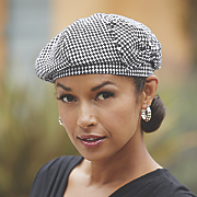 houndstooth beret with bow