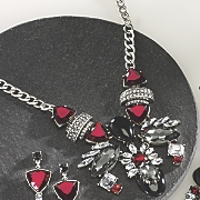 red  black and clear crystal necklace