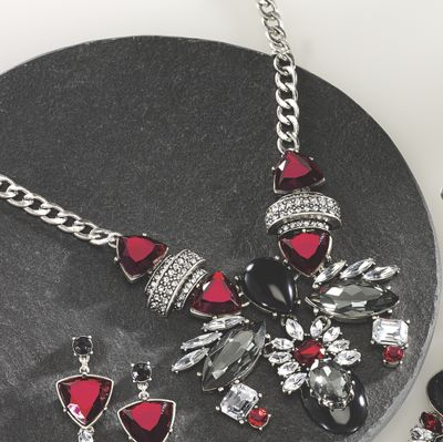 Red, Black and Clear Crystal Necklace