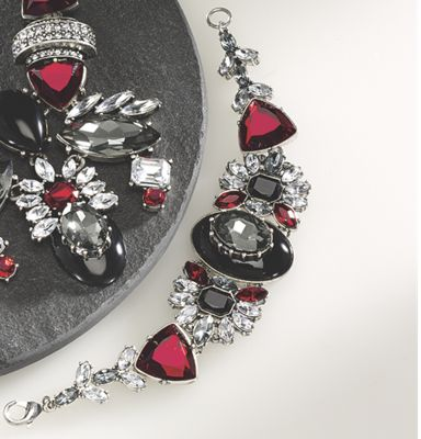 Red, Black and Clear Crystal Bracelet