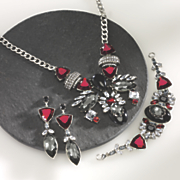 red  black and clear crystal jewelry