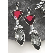 red  black and clear crystal earrings