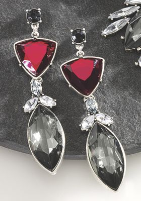 Red, Black and Clear Crystal Earrings