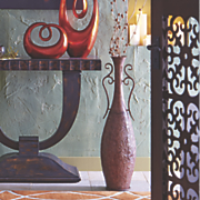 tall metal vase
