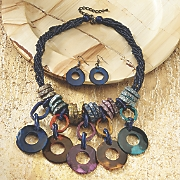 multicolored necklace earring set