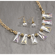 faceted glass bead necklace earring set