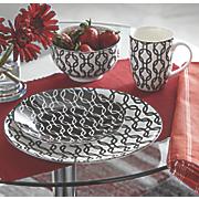 16-Piece Black & White Dinnerware