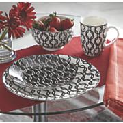 16 pc  black   white dinnerware