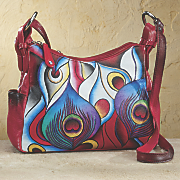 hand painted leather peacock bag