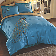 Embroidered Peacock Comforter Set