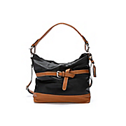 two tone belted bag by hush puppies