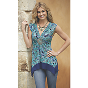 Mixed Blues Medallion Top