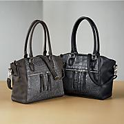 croco front zipper bag