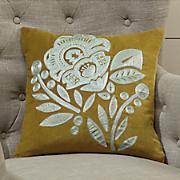 Embroidered Velvet Jacobean Pillow