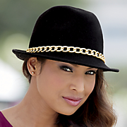 pinch front fedora with chain