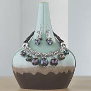 black silvertone ball necklace earring set