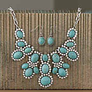 faux turquoise and crystal necklace earring set
