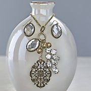 vintage charm and crystals necklace earring set