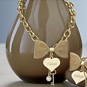 personalized bow heart necklace