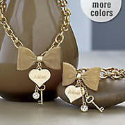 Personalized Bow Heart Necklace and Bracelet