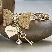 personalized bow heart bracelet
