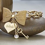 personalized bow heart bracelet