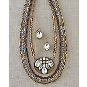 crystal medallion necklace and earring set