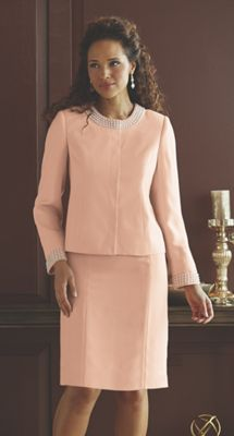 Faux Pearl-Trim Jacket Dress