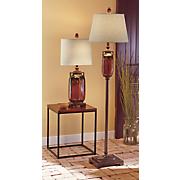 red ceramic floor lamp