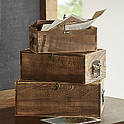 set of 3 wooden boxes