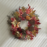 autumn leaves and gourds wreath