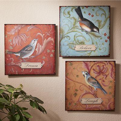 Set of 3 Laugh, Believe, Dream Bird Signs