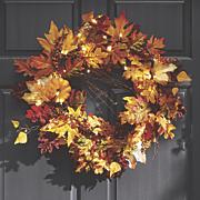 lighted fall wreath