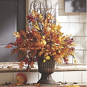 fall floral urn with lights