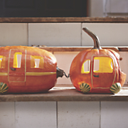 pumpkin solar car and trailer set