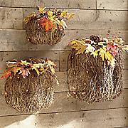 set of 3 nesting twig pumpkins