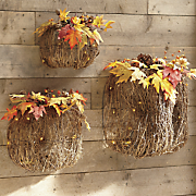 set of 3 nesting twig pumpkins
