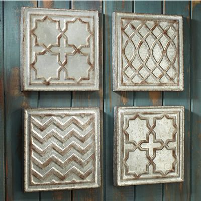 Set of 4 Galvanized Wall Art
