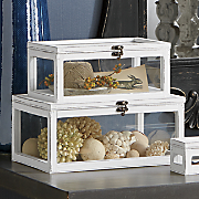 set of 3 aged wood glass boxes