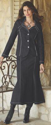 Rhinestone Denim Suit
