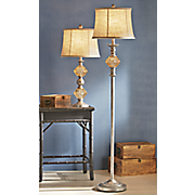 amber glass table and floor lamp