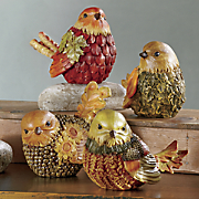 set of 4 little autumn birds